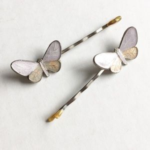 Pair of Vintage Butterfly Hairpins